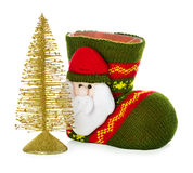 Christmas boots, socks and fir-tree isolated on white Royalty Free Stock Photography