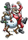 Christmas booze. Illustration a drunk Snowman and rowdy roaring Santa Claus hugging Royalty Free Stock Images