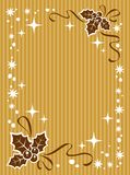 Christmas border. With Holly Berry on a striped background royalty free illustration