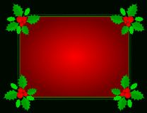 Christmas border. Christmas holly border/ background with holly leaves , berries and green ribbons Stock Images