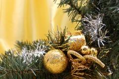 Christmas border. On yellow silk stock images
