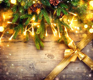 Christmas border art design with baubles and light garland Royalty Free Stock Photo