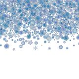 Christmas border background with blue snowflakes. Christmas border background with many blue snowflakes stock illustration