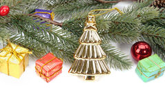 Christmas border of baubles, garland and candy. Canes Stock Photo