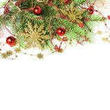 Christmas Border with Baubles and Snowflakes Royalty Free Stock Images