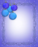 Christmas Border Blue Ornaments Stock Images