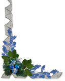 Christmas border blue ornaments Royalty Free Stock Photography