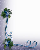 Christmas Border blue ribbons. Image and Illustration composition for Christmas holiday background, border, greeting card, invitation or frame with sparkling Stock Photography