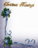 Christmas Border Blue Ribbons  Royalty Free Stock Images