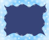 Christmas border blue white waved frame covered by snow flakes n. Vector christmas border blue white waved frame covered by snow flakes nad snow ball on dark stock illustration