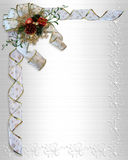 Christmas Border Bow and ribbons. Image and illustration Composition Christmas design ribbons and bow on white satin isolated for border or background  with copy Royalty Free Stock Photos