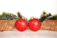Christmas border from branch and balls Stock Image