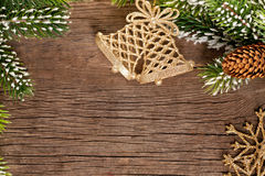 Christmas border from branch and bells Stock Images