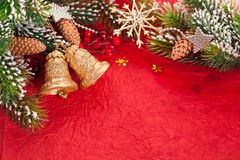 Christmas border from branch and decorations Stock Photo