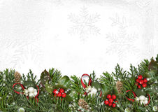 Christmas border with branches, mistletoe and holly on white Royalty Free Stock Images