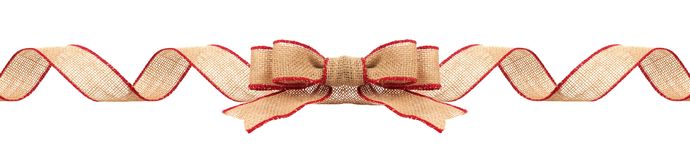 Christmas border with burlap ribbon with red trim isolated. Long Christmas border with burlap bow and ribbon with red trim isolated on a white background stock photo
