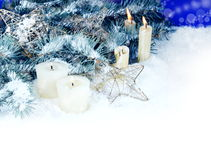 Christmas Border with Candles Royalty Free Stock Image