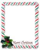 Christmas border Candy Ribbon and holly Frame Royalty Free Stock Photo