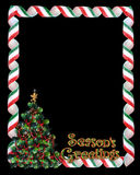 Christmas border candy and tree Royalty Free Stock Photos