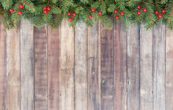 Christmas Border with Christmas Tree Fir and Red Berries Stock Images