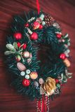 Christmas border from christmas wreath useful as christmas decoration stock images
