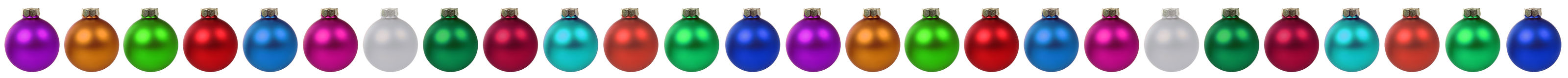 Christmas border colorful balls baubles decoration in a row isol Stock Photo