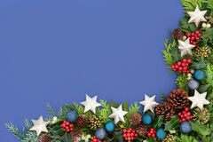 Christmas Border Composition with Baubles and Flora