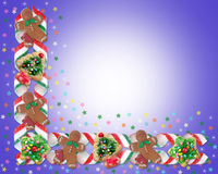 Christmas Border Cookies and Candy Stock Images