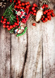 Christmas border with  copy space on wooden old background. Vint Royalty Free Stock Photos