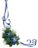 Christmas Border Corner design Blue Stock Photo