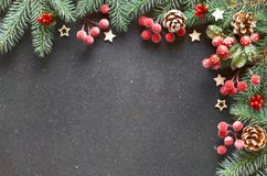 Christmas border decorated with fir twigs, berries and frosted p Stock Photo