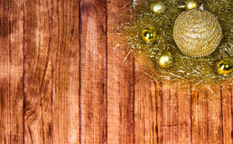 Christmas border with decoration. Ornament  on a wooden background Royalty Free Stock Photo