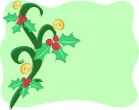 Christmas Border with Decorations of Holly and Spi Royalty Free Stock Image