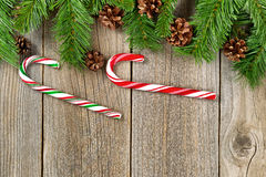 Christmas border with decorations on rustic wooden boards Stock Photo