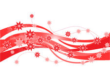 Christmas border design. Red Christmas border with flowing waves and stars Stock Photo