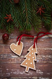 Christmas border design on the wooden background Stock Photography