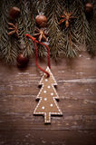 Christmas border design on the wooden background Royalty Free Stock Photo
