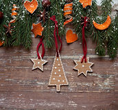 Christmas border design on the wooden background Royalty Free Stock Photos