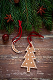 Christmas border design on the wooden background Stock Image