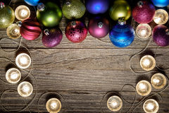 Christmas Border Design on a Wooden Board Stock Images