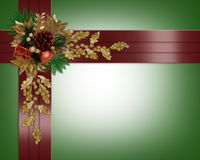 Christmas border elegant red ribbons Royalty Free Stock Photos