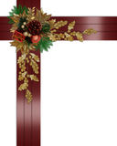 Christmas border elegant red ribbons Stock Photo