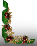 Christmas border elegant ribbons. Image and Illustration composition for Christmas holiday background, border, frame or template with  ornaments, pinecones and Royalty Free Stock Photo