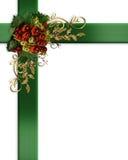 Christmas border elegant ribbons baubles Stock Image