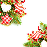 Christmas border with evergreen green fir twig. And handmade decorations on background stock photo