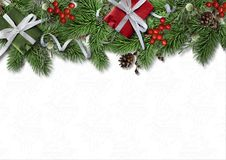 Christmas border branches and holly on white background Royalty Free Stock Photos