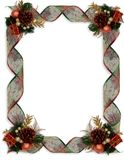 Christmas Border Fancy ribbons and ornaments royalty free stock image