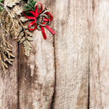 Christmas border with  festive decorations and copy space on woo Stock Photos