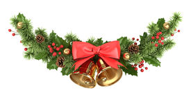 Christmas border from fir branches. Christmas border with christmas decoration on white 3d illustration stock illustration