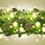 Christmas border with fir branches and garland. Christmas endless border with fir branches and glowing garlands. Vector holiday design Stock Photos